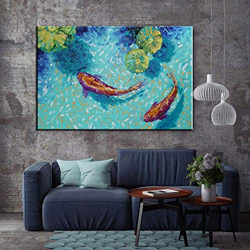 JFSJDF Koi Fish Lotus Canvas Prints Feng Shui Animal Landscape Painting Wall Art Picture for Living Room Moder Home Decoration (Koi Print Animal)
