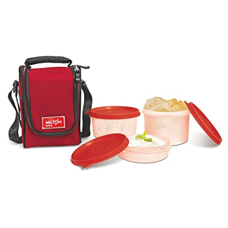 Milton Full Meal 3 Containers Lunch Box, Red Lunch Boxes