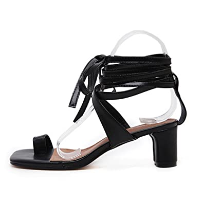 99639c1f123c Women s Summer Lace up Ankle Strap Low Heeled Sandal Fashion Square Toe  Ring Flip Flops Shoes
