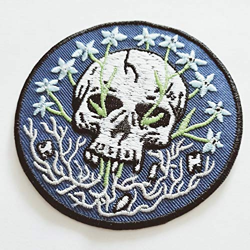 Motorcycle Jeans Hippie Skull Flowers Dead Circle Flower Grow Biker Peace Sign Club Sew/Iron On Stickers Embroidered Appliqued Patch On Your Jacket