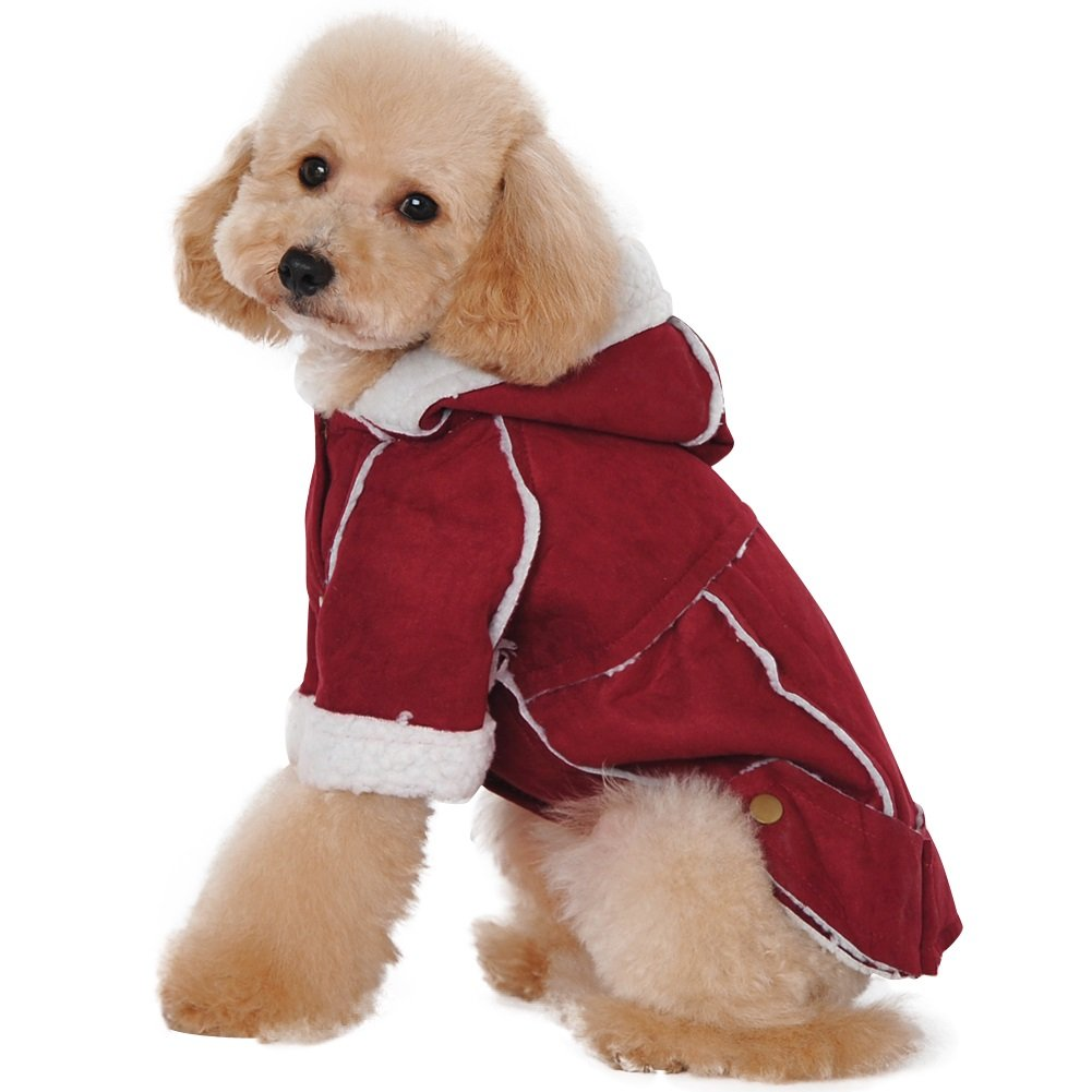 Albabara Dog Winter Coat British Style Dog Vest Cozy Windproof Snowsuit Dog Jacket Pet Dog Hooded Cold Weather Clothes Warm Dog Apparel for Small Medium Dogs