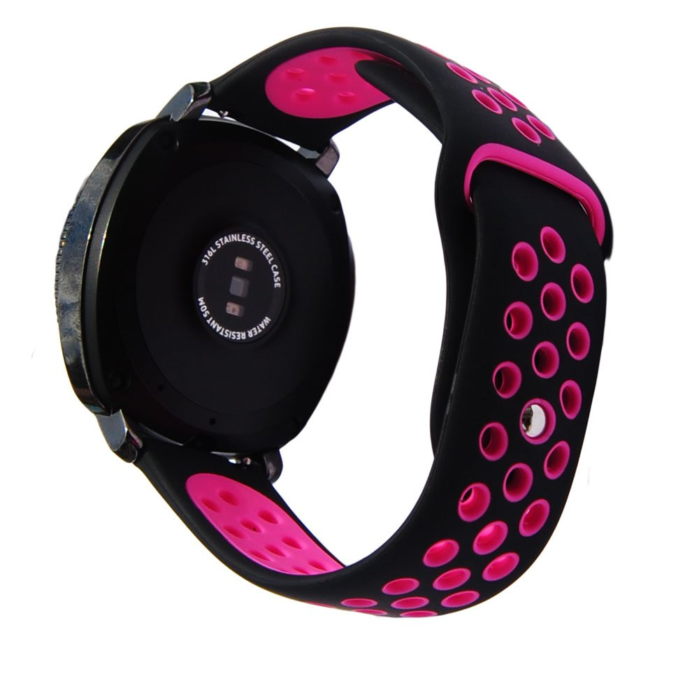 Sport Silicone Strap for S2 Classic R732/R735 Samsung Gear Sport R600 Smartwatch Ticwatch E Vivomove HR 20mm Silicone Watch Band, (Black-Pink)