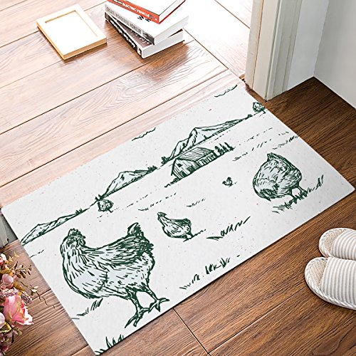 Doormat Kitchen Floor Bath Entrance Rugs Absorbent Indoor Bathroom Decor Door Mats Rubber Non Slip, 18 x 30 Inch Country Green Grasslands Landscape Quiet House Chickens by Family Decor