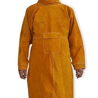 NUZAMAS Delantal de soldadura Anti-llama de piel de vaca de abrigo largo Ropa protectora