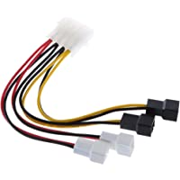Phenovo 4Pin Power to 4x 3Pin Case Cooling Computer Fan Converter Adapter 12V