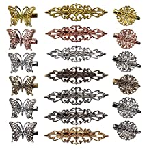 Vintage Hair Clips 19 Pack Hairpins Hair Barrettes Butterfly Flower Shape Hair Clips Headwear for Women Girls, 18 Pieces (Color 2)