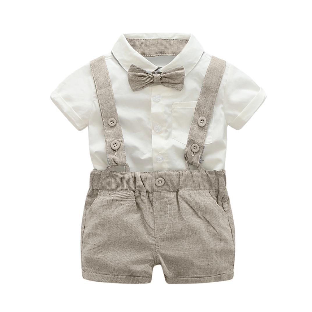 erthome Baby Kleidung, Baby Jungen Sommer Gentleman Bowtie Kurzarm Shirt + Hosenträger Shorts Outfit Set