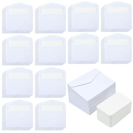 Elcoho 120 Lot Mini Enveloppes Avec Pieces Blanc Blank Cartes De Visite Colore
