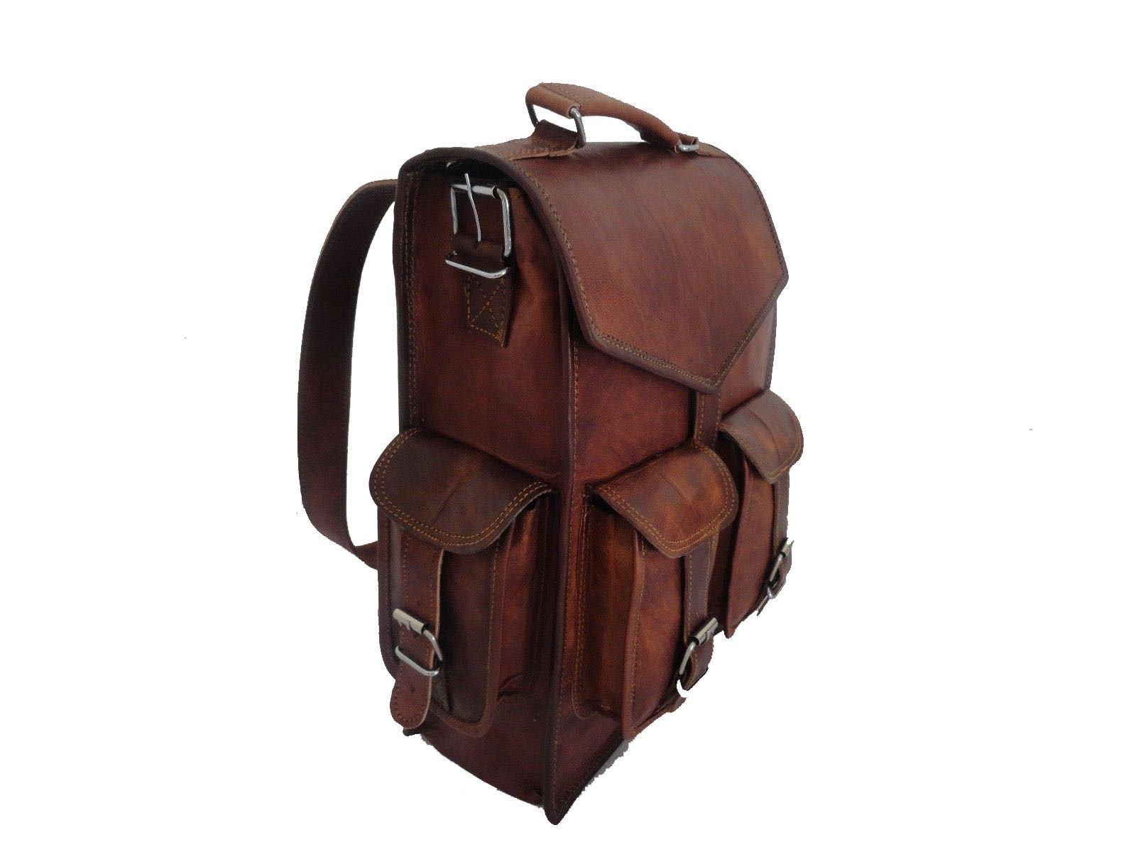 15'' Vintage Leather Backpack Laptop Messenger Lightweight School College Bag Rucksack Sling for Men Women by Indian Hando Art by Indian Hando Art