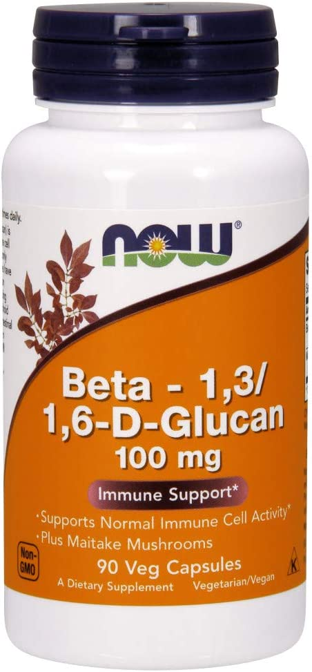 NOW Supplements, Beta 1,3/1,6- D-Glucan 100 mg with Maitake Mushrooms, 90 Veg Capsules