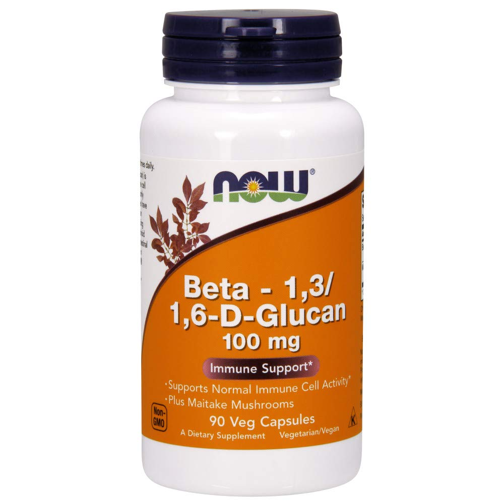NOW Supplements, Beta 1,3/1,6- D-Glucan 100 mg with Maitake Mushrooms, 90 Veg Capsules