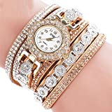 Hunputa Women Fashion Casual Leather Band Analog Quartz Women Rhinestone Watch Bracelet Watch Gift New (Beige)