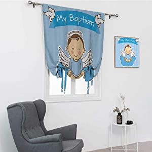 """GugeABC Baptism Decorations Collection Window Blinds and Shades, Baby with Wings on a Cloud Boy Baptism Remembrance Family Love Life Joyful Design Window Shades for Home, Blue White, 42"""" x 72"""""""