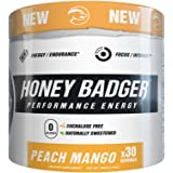 Honey Badger Performance Energy Natural Pre Workout for Men & Women (Peach Mango / 30 Servings / Sucralose Free / Naturally Flavored & Sweetened / CarnoSyn ® Beta-Alanine)