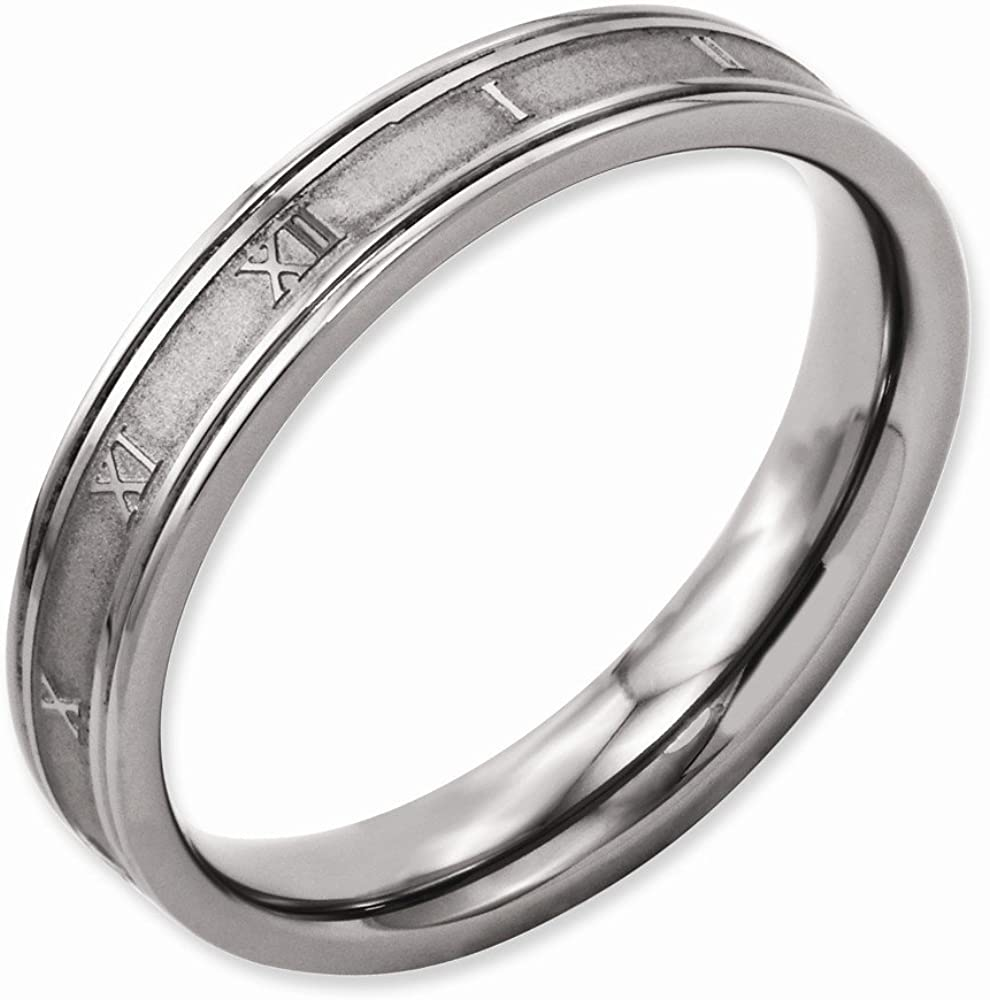 Best Quality Free Gift Box Titanium 4mm Brushed And Polished Roman Numerals Band