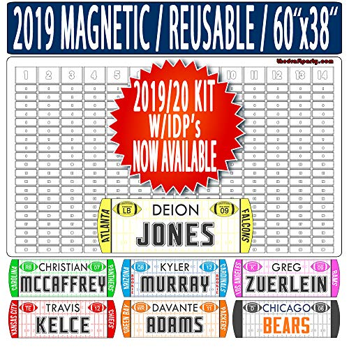 Fantasy Football Draft Board - W/Individual Defensive Players - Reusable/Portable - 2019/20 Magnetic Kit, 388 Movable Names - Write/Erase Option - Multi-Sport (MLB, NHL, NBA) - Large 60
