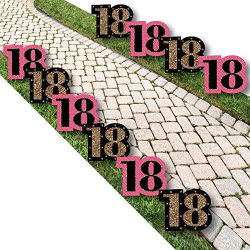 Chic 18th Birthday - Pink, Black and Gold Lawn Decorations - Outdoor Birthday Party Yard Decorations - 10 Piece -