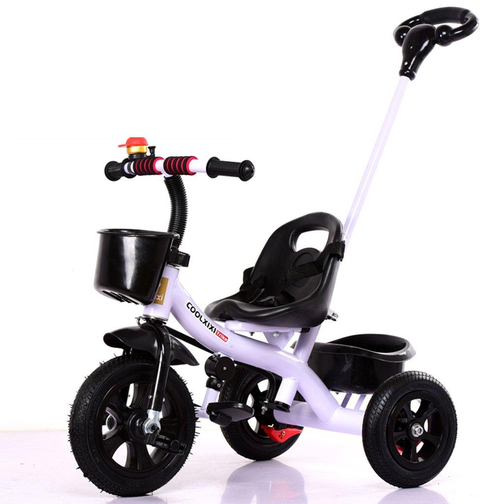 HAIZHEN マウンテンバイク 子供の三輪車リムーバブルプッシュハンドルインフレータブルホイールショックアブソーバ自転車1-5歳の後部収納バスケットベビーベビーカー 新生児 B07DL63BJ4 白 白