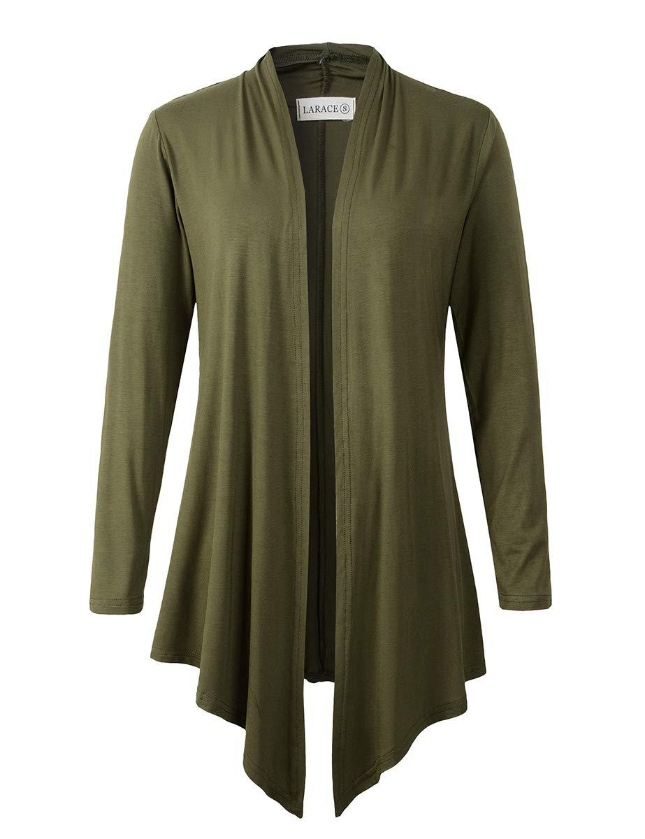 LARACE Women Open Front Cardigan Plus Size Drape Long Sleeve Lightweight Cardigans S-3X(L, Army Green)