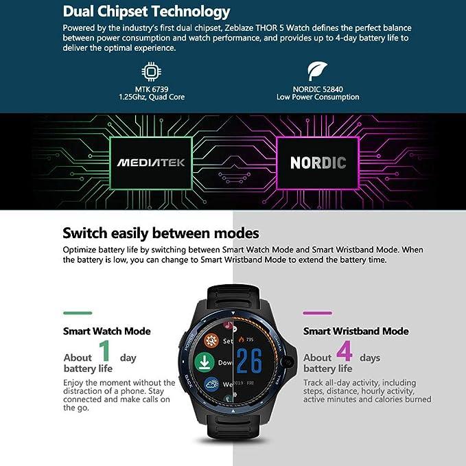 Lesgos New Zeblaze Thor 5 Dual SmartWatch, Zeblaze Thor Dual Systems 4G Smartphone Android Phone 8MP 3GB + 32GB 800MHz Battery Waterproof Smartwatch ...