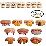 Ugly Fake Teeth 10 pcs No duplication Costume Party Funny Halloween Gag Gift Halloween Decoration Best Gifts