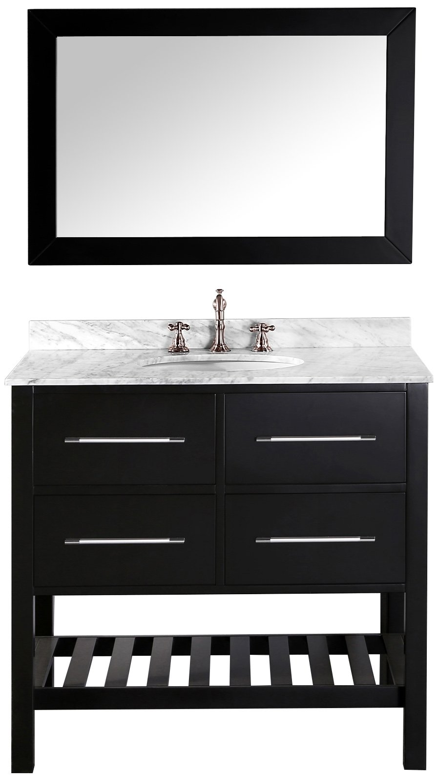 Bosconi Bathroom Vanities SB-250-3 WH Contemporary Single Vanity with Soft Closing Drawers, Marble Countertop, and Towel Rack, 36'', White