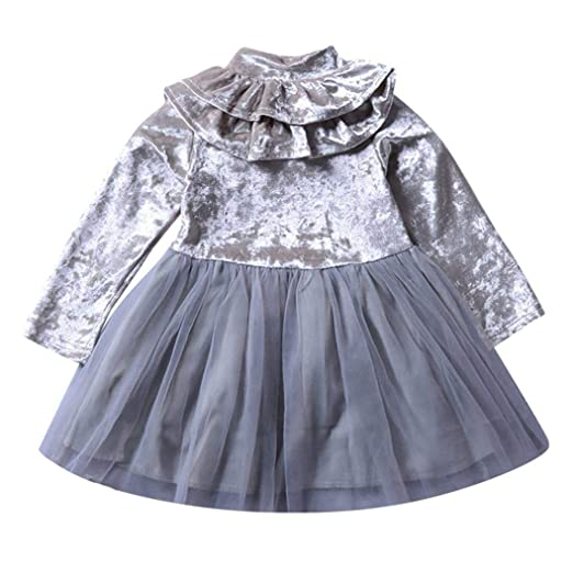 ec7755a0a Amazon.com  Jarsh Baby Girl Long Sleeve Ruffle Solid Dress Velvet ...