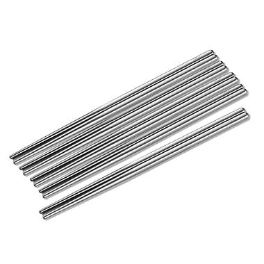 Metal Chopsticks Stainless Steel Non-skid Design Squared Chopsticks(6pairs)