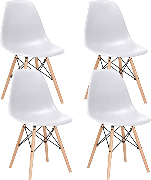 Set Of 4 Modern Kitchen Dining Chair White PP Side Lounge Chair With Wood Legs