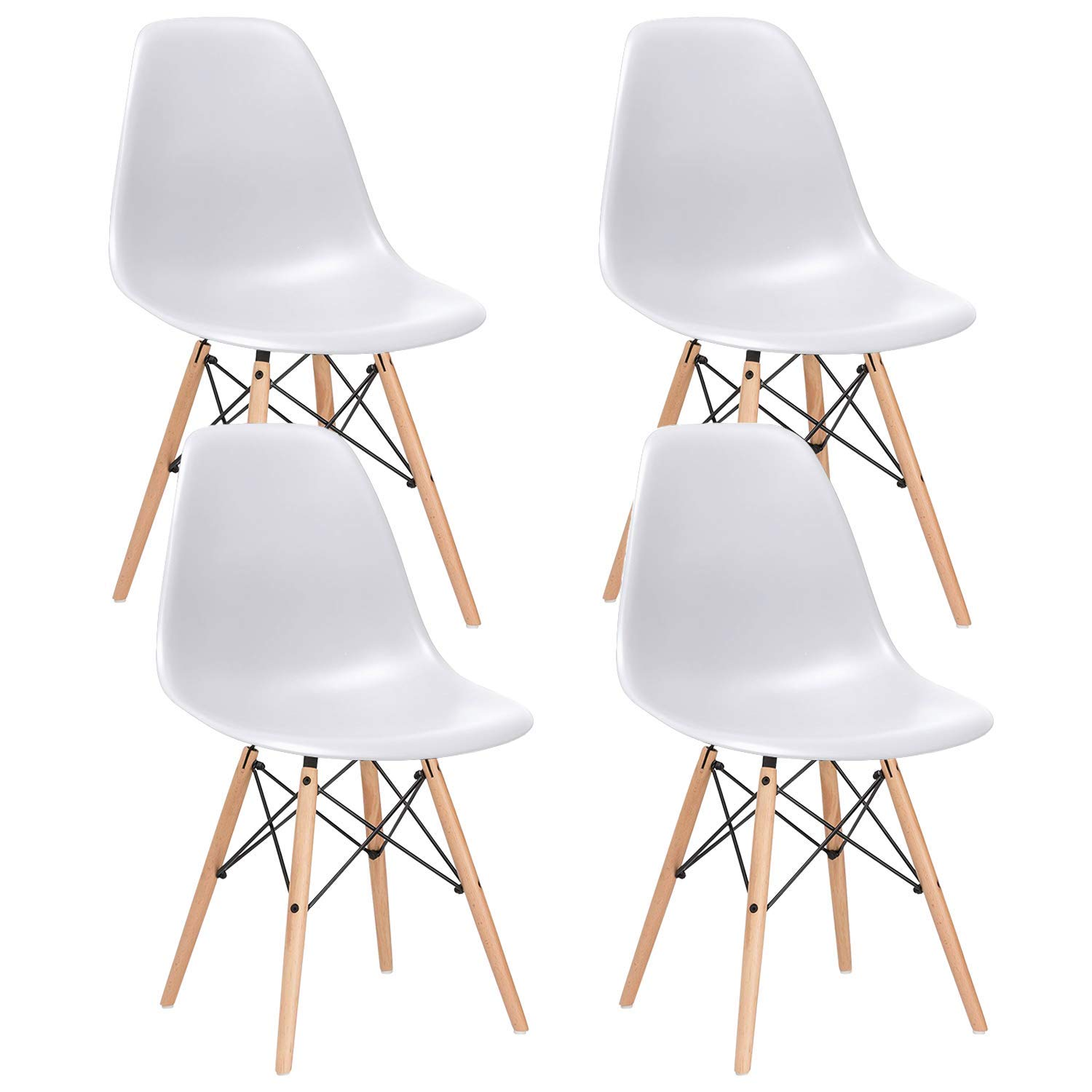 Nicemoods Mid Century Modern Style Dining Chairs,Pre Assembled Indoor Chair Armless Classic Eames Plastic Chair Wooden Legs Set of 4 for Kitchen, Dining Room, Bedroom, Living Room Side Chairs (White)