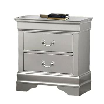 Amazon.com: Silver Nightstand with Drawers Bedroom Side ...