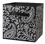 Home Basics Foldable Metallic Storage Bin Cube Organizer (Silver Paisley)