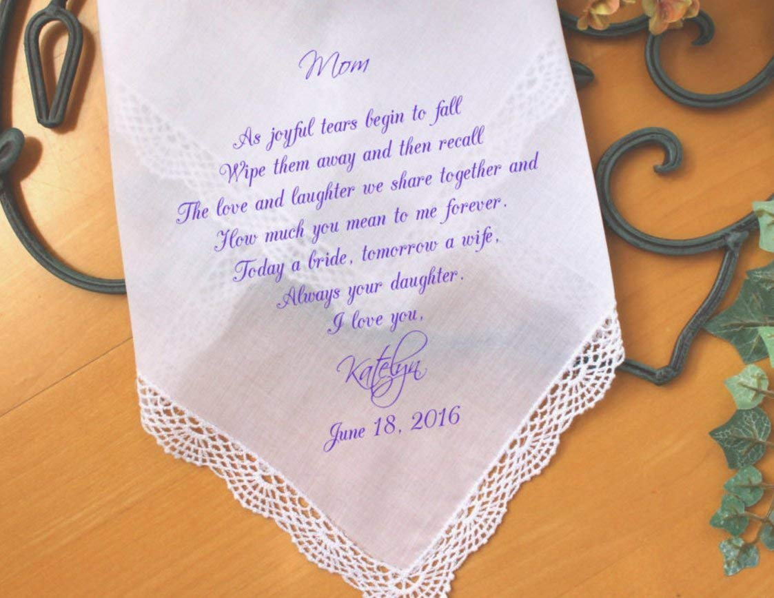 Mother of the Bride Gift, PRINTED, As joyful tears begin to fall, Mother of the Bride Handkerchief,Personalized wedding gift. LS5FCAC by Snugahug[60]
