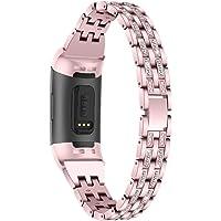 Aottom Compatibel voor Fitbit Charge 4 Band/Fitbit Charge 3 Band voor Vrouwen Strass Metalen Sieraden Bling Glitter Armband Polsband Vervangende Band voor Fitbit Charge 4 / Lading 3 Fitness Tracker Rosegoud