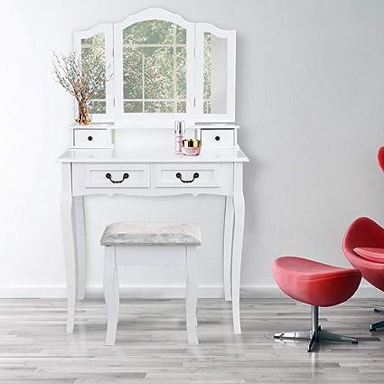 wolketon schminktisch mit 3 spiegel und 4 schubladen kosmetiktisch frisierkommode frisiertisch spiegel mit polsterhocker sitzhocker hohe qualität  spiegel hochwertige qualitat klasse design #13