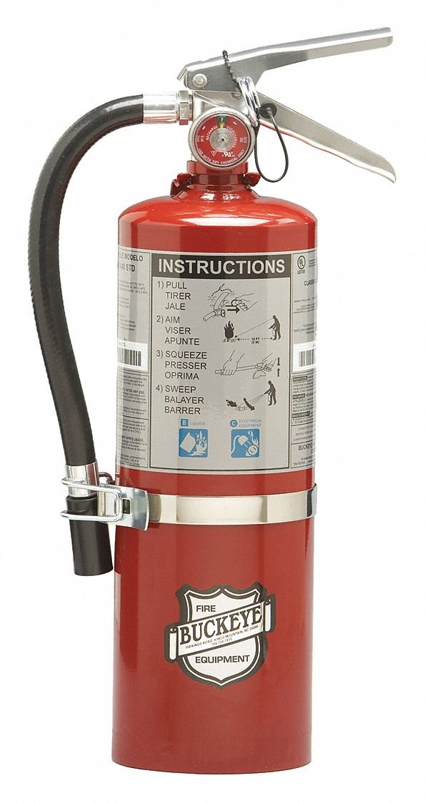 Buckeye 13514 Standard Dry Chemical Hand Held Fire Extinguisher with Aluminum Valve and Vehicle Bracket, 5.5 lbs Agent Capacity, 4-1/4'' Diameter x 7-1/4'' Width x 16-3/8'' Height