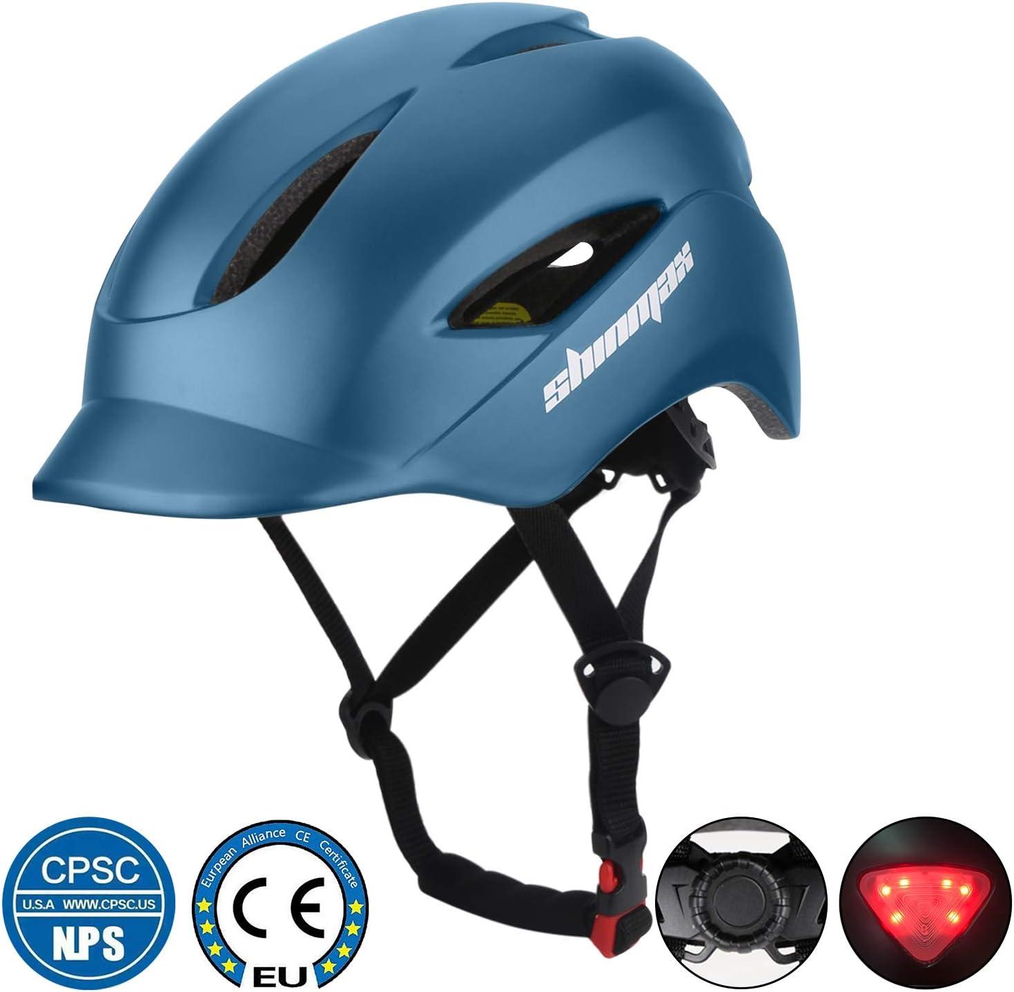 Shinmax Casco de Bicicleta con Casco de Bicicleta Certificado CE y Casco de Seguridad Trasero Ligero y Ajustable para Hombres y Mujeres Adultos, montaña/Carretera/Paseo