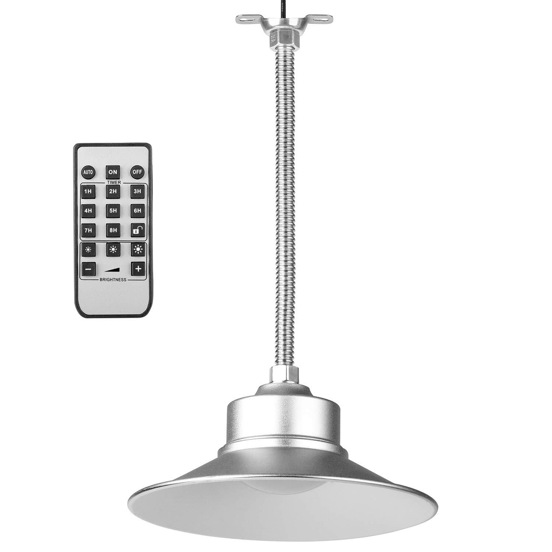 Weatherproof Solar Pendant Light, 36LED Indoor Hanging Wall Lantern, Aluminum Alloy Flood Light with Remote Control, 3 Brightness Level, Time Setting Ceiling Light for Garden Gazebo Garage Barn Porch