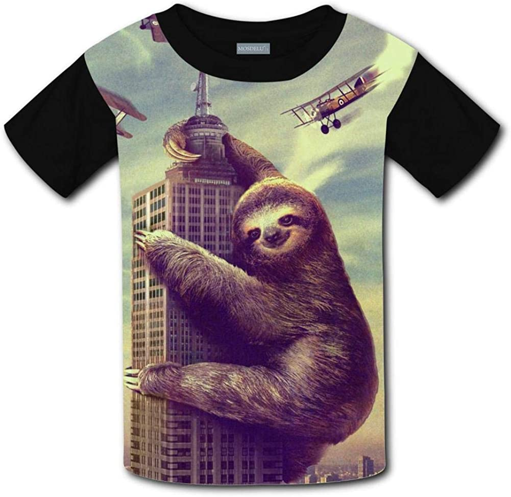 Shirt Kids 3D Printed Cute Sloth Round Collar Short sleeve Kids T
