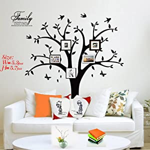 Family Photo Tree Wall Decal Stickers Living Room Home Decal Bed Baby Room Wall Decals, Memory Tree and Birds,Wall Stickers,Butterfly