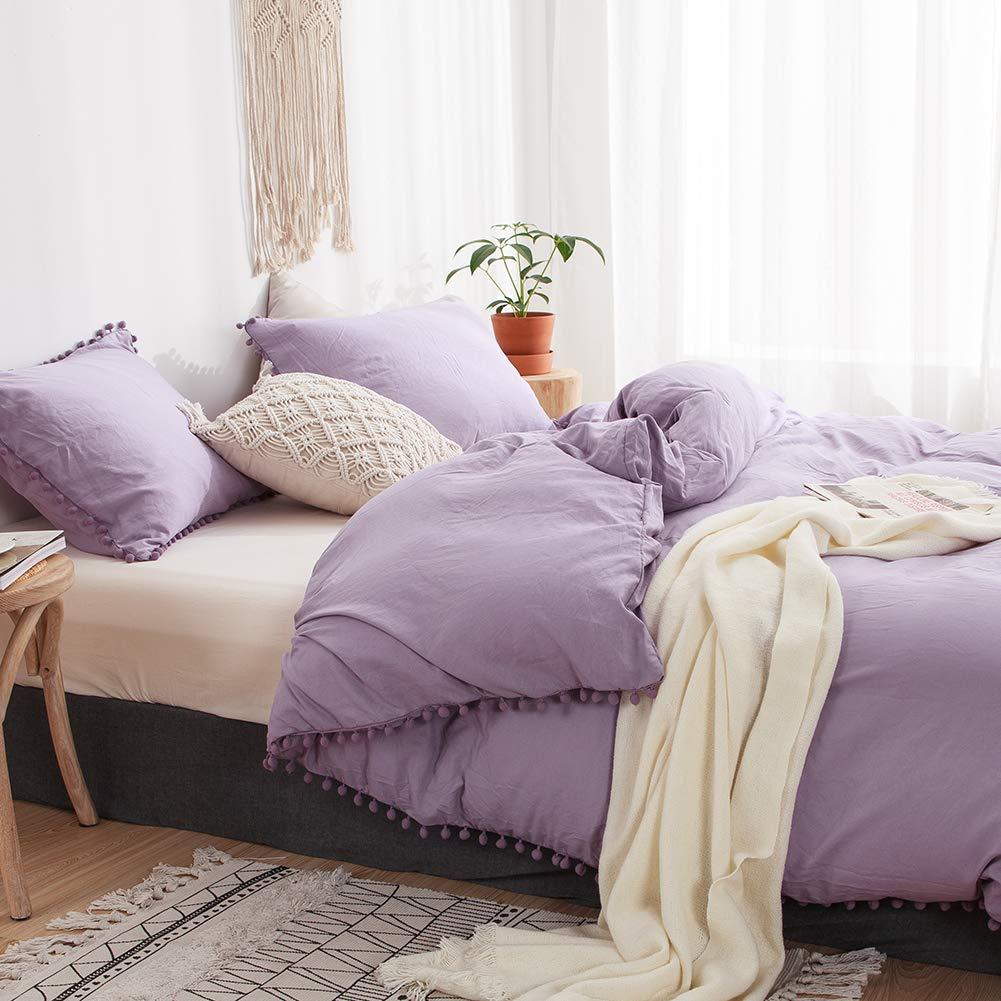 MOVE OVER 3 Pieces Light Purple Bedding Purple Duvet Cover Set Ball Fringe Pattern Design Soft Lavender Purple Bedding Sets Queen 1 Duvet Cover 2 Ball Lace Pillow Shams (Queen, Light Purple)