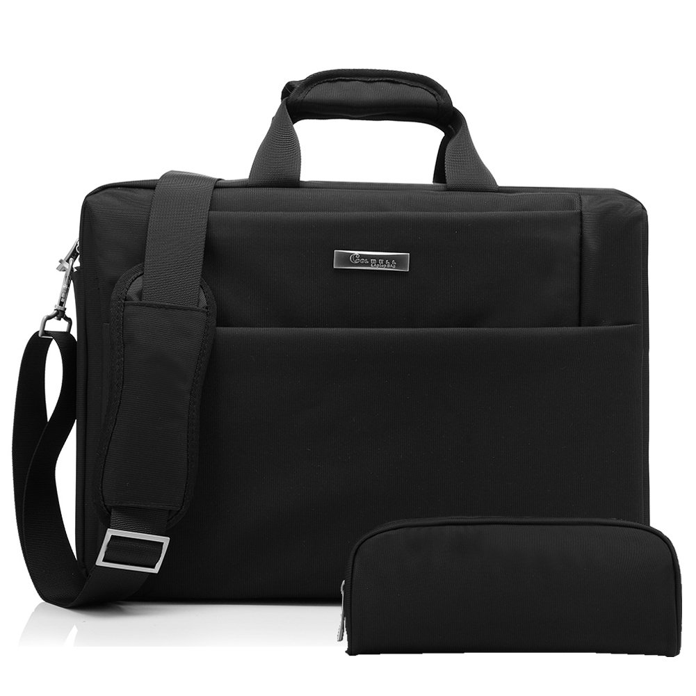 CoolBELL 15.6 inch Laptop Bag with Free Buggy Bag Messenger Shoulder Briefcase Hand Bag Oxford Cloth Multi-Compartment for iPad Pro/MacBook / Asus/Lenovo for Men/Women / Business (Black)