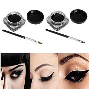 Internet 2 PCS Mini Eyeliner Gel Crème Avec La Brosse de Maquillage Cosmétique Noir Waterproof Eye Liner