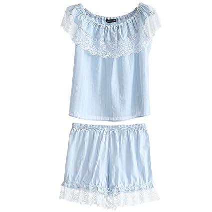 Pijamas Summer Sexy Sweet Ladies algodón cómodo algodón Dos Piezas HUXIUPING (Color : Azul,