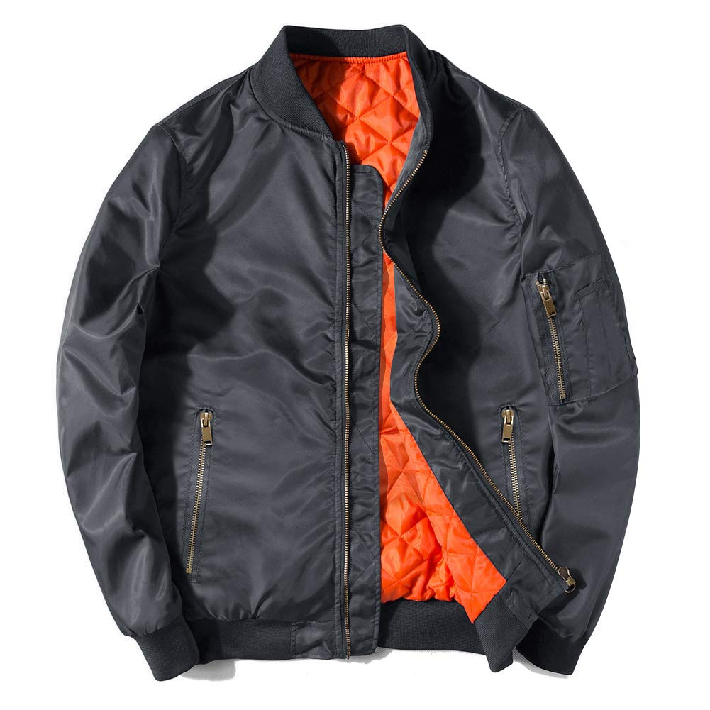 EKLENTSON Men Outdoor Jackets Cotton Lightweight Active Military Jacket Men Fight Bomber Jacket Men Fashion Gray by EKLENTSON