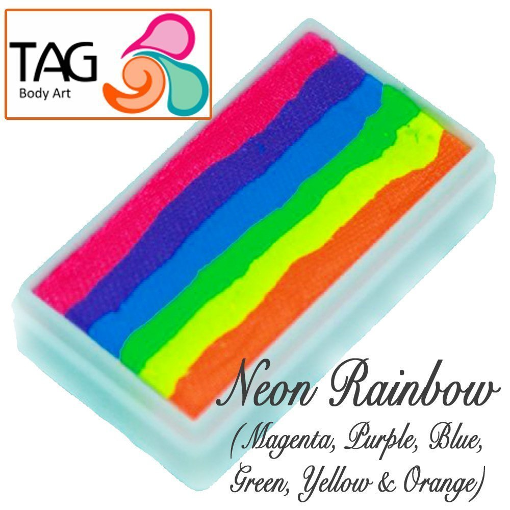 TAG Face Paint 1-Stroke Split Cake - Rainbow Neon (30g) TAG Body Art 1SN30