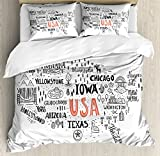 USA Map Queen Size Duvet Cover Set by Ambesonne, United States of America City Typography Pattern with Local Figures Concept, Decorative 3 Piece Bedding Set with 2 Pillow Shams, Grey Coral White