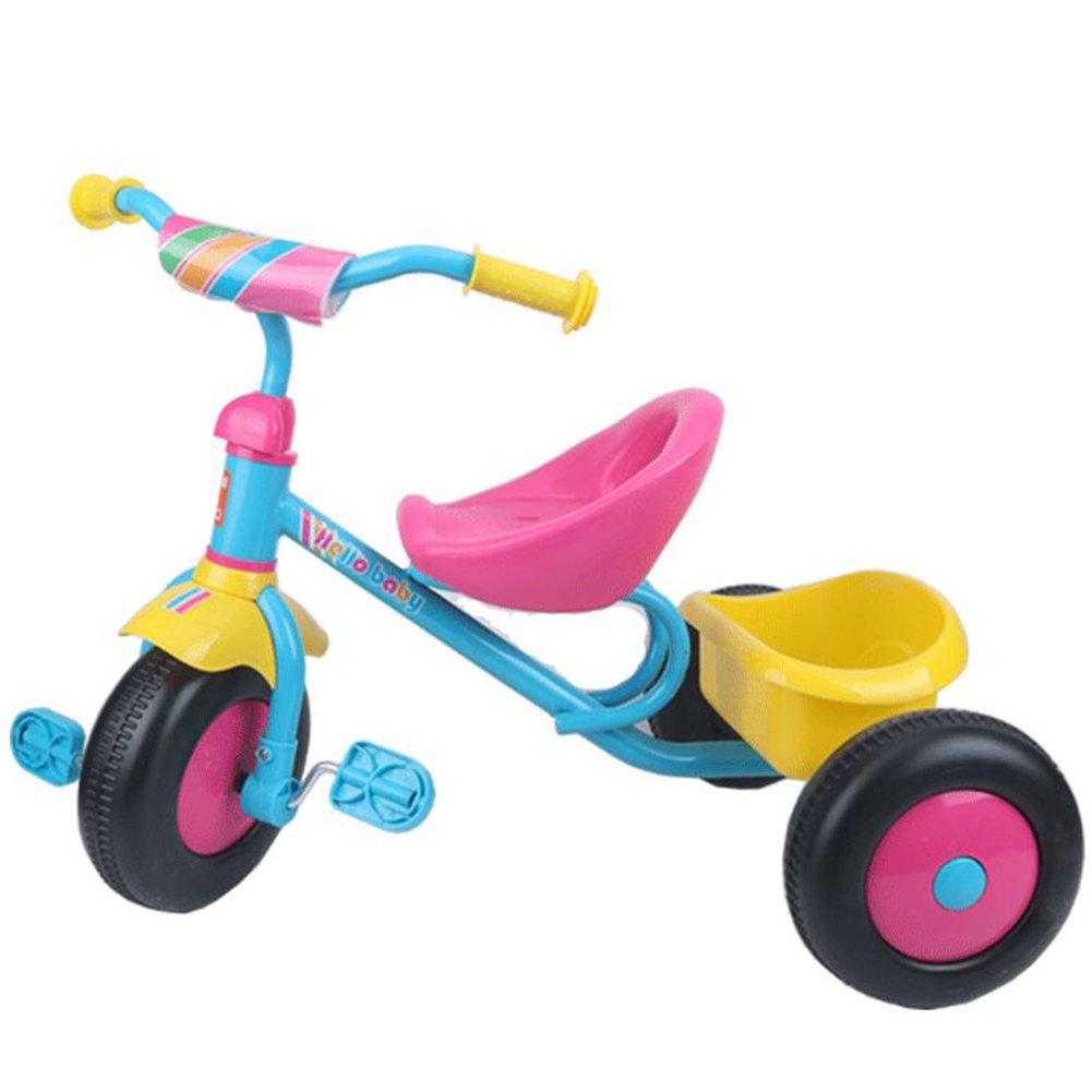 XQ 子供の軽量プラスチックホイール1-3-5歳の三輪車 子ども用自転車 ( 色 : Pink plus blue plus yellow ) B07CG7JJFSPink plus blue plus yellow