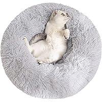 Sorlakar - Cama calmante para perros y gatos medianos y grandes, 61 cm, piel sintética suave, forma de dona, cama…