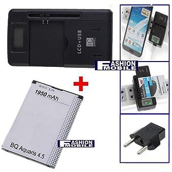 Fashionmobile® Cargador 3-1 bateria + bateria para BQ Aquaris 4.5 / FNAC Phablet 1950 mAh USB Red